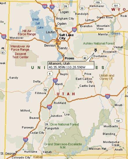 Counties Utah Map.Altamont Utah Map 4