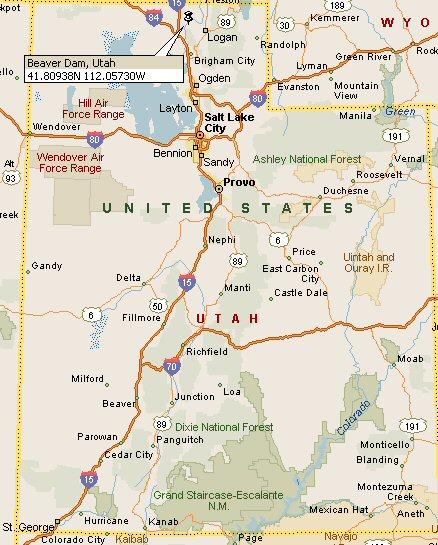 Beaver Dam, Utah Map