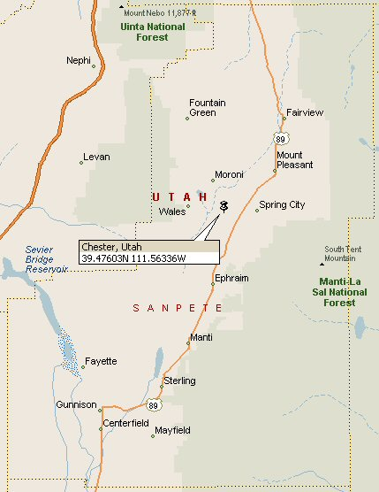 Sanpete County Utah Map.Chester Utah Map 2
