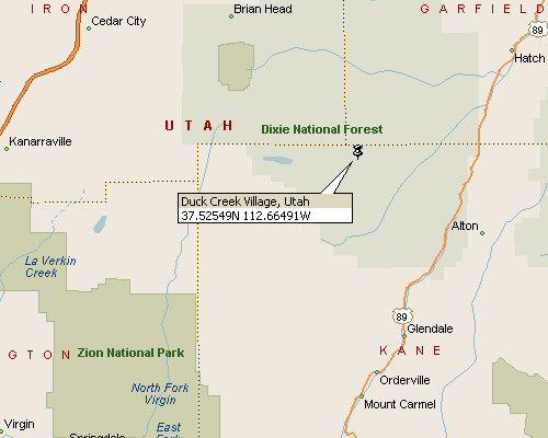 Duck Creek Village Utah Map