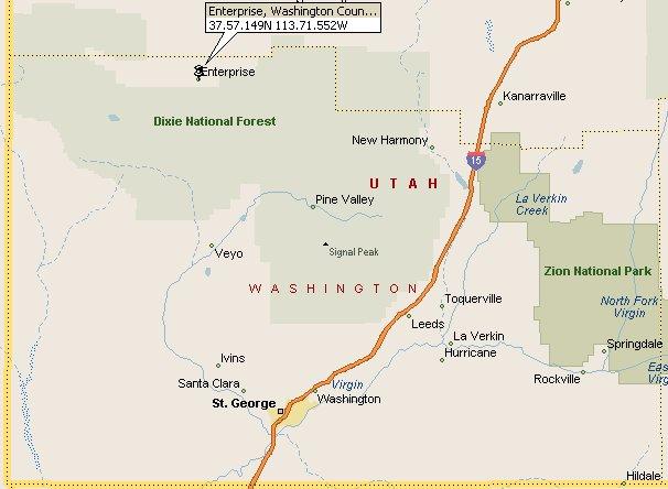 Enterprise Washington Utah Map 2