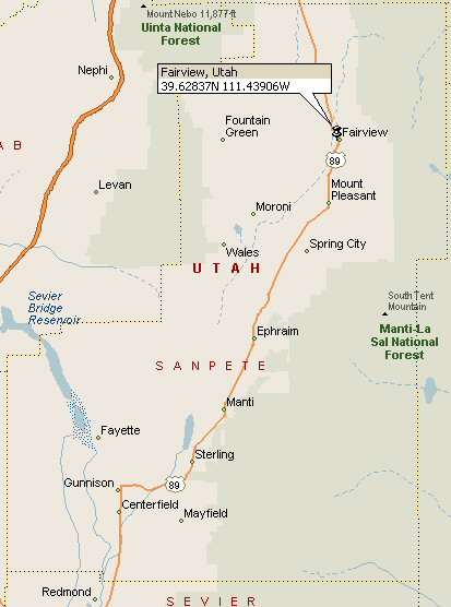 Sanpete County Utah Map.Fairview Utah Map 2
