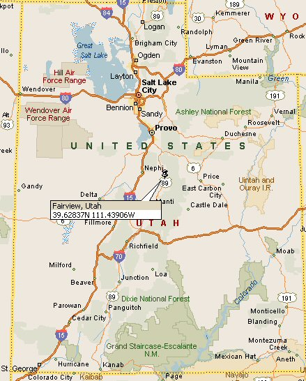 Sanpete County Utah Map.Fairview Utah Map 4