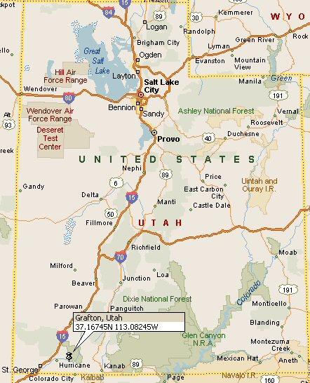 Grafton Utah Map
