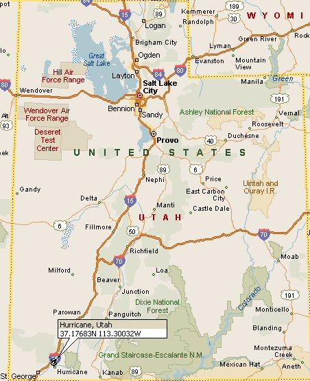 Hurricane, Utah Map