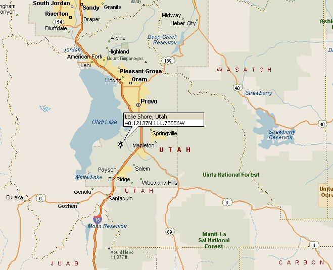Lake Shore Utah Map