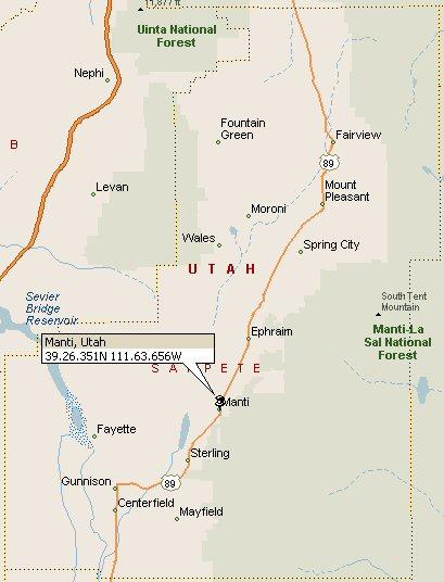 Manti Utah Map Manti Utah Map 2