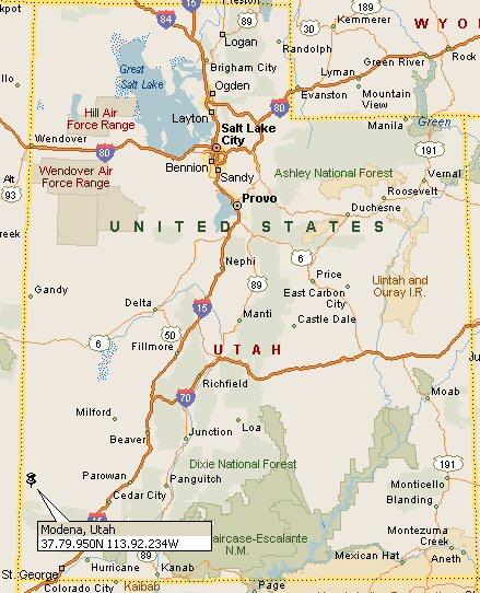 Modena Utah Map 4