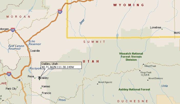 Oakley Utah Map.Oakley Utah Map 2