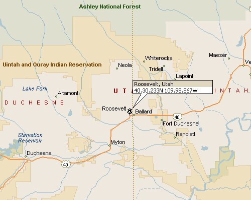 Roosevelt, Utah Map 1 on