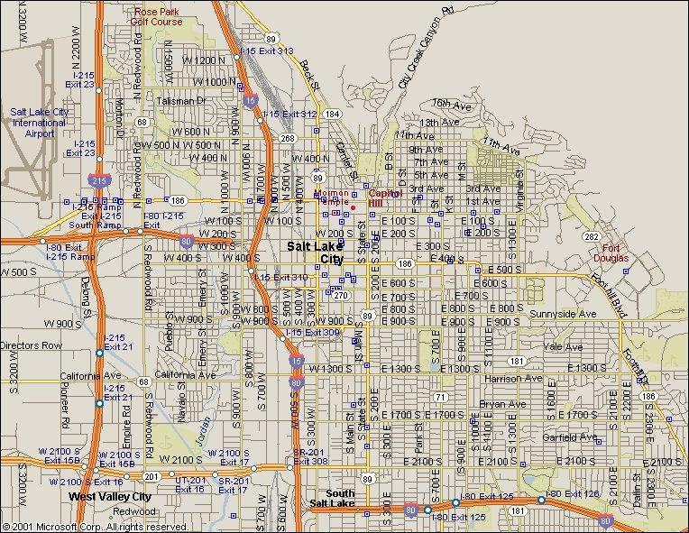 Salt Lake City Utah Map