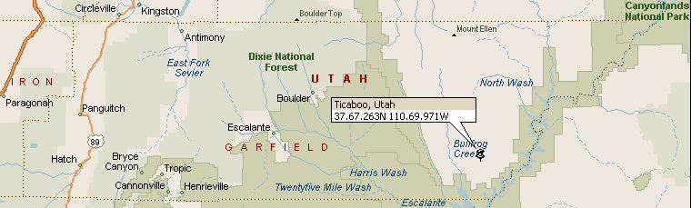 Ticaboo, Utah Map 2