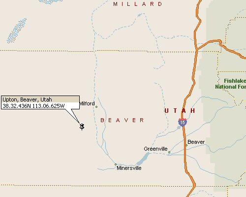 Upton Beaver County Utah Map 1