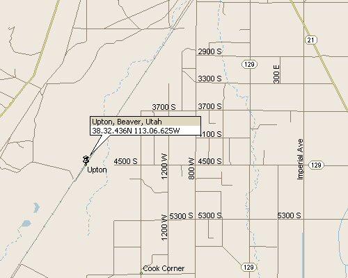 Upton Beaver County Utah Map 3