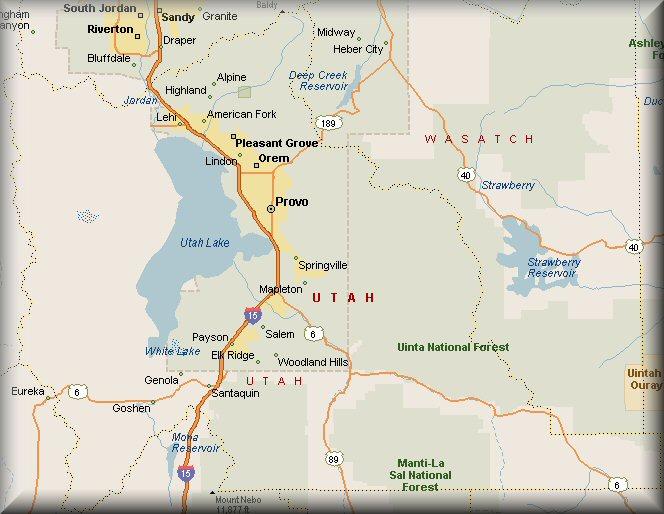 Utah County Utah Map