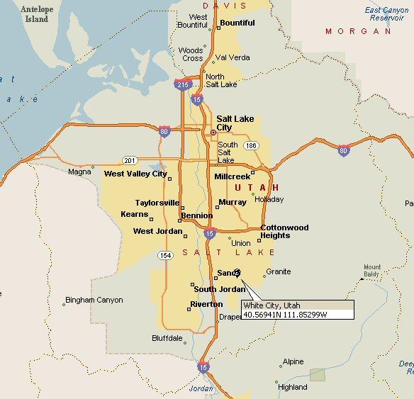 White City, Utah Map on